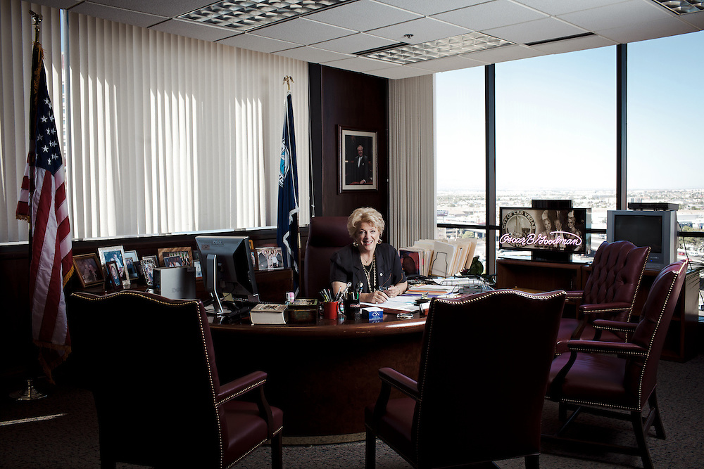 Mayor Carolyn Goodman was elected to office in June 2011, having taken over from her husband, Oscar Goodman, who had held office the maximum three times, since 1999. She was elected on the ticket of carrying on the work of her husband, a popular, but at times controversial figure who was well known for his love of Gin and showgirls. Since the recession of 2008 Las Vegas has suffered with highest foreclosure rates of any city in the United States, a result of cities inflated house market. Mayor Goodman has since been attempting to develop Las Vegas as a centre for aspects other than simply hospitality and gaming, by trying to integrate industries for medicine, research, culture and sports.
