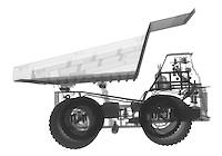 X-ray image of a mining dump truck (black on white) by Jim Wehtje, specialist in x-ray art and design images.
