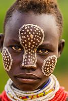 Teenage Kara tribe girls with face painting , Dus village, Omo Valley, Ethiopia.
