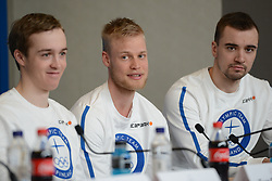 February 8, 2018 - Pyeonchang, Republic of Korea - TERO SEPPALA , TUOMAS GRONMAN and OLLI HIIDENSALO of the Finnish biathlon team at a press conference prior to the start of the 2018 Olympic Games (Credit Image: © Christopher Levy via ZUMA Wire)
