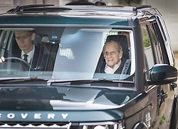 © Licensed to London News Pictures. 13/04/2018. London, UK. HRH PRINCE PHILIP, The Duke of Edinburgh is seen leaving by a mews exit before driving past the front of the King Edward VII Hospital following a hip operation. The Duke underwent an hour-long, planned operation on Wednesday last week at the private hospital in central London. Photo credit: Peter Macdiarmid/LNP