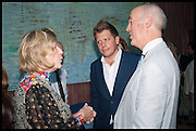 AGNES GUND; ROGER TATLEY; CHARLES SAUMERAZ SMITH;  Drinks party to launch this year's Frieze Masters.Hosted by Charles Saumarez Smith and Victoria Siddall<br />  Academicians' room - The Keepers House. Royal Academy. Piccadilly. London. 3 July 2014