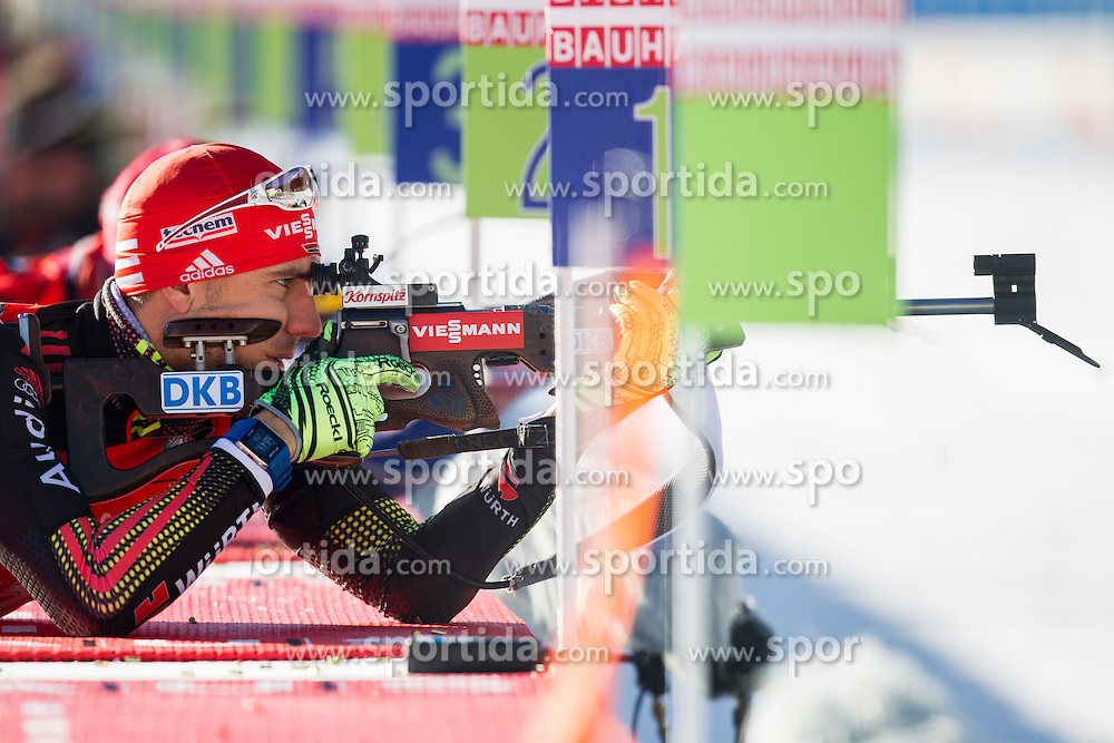 Arnd Peiffer (GER) competes during Men 12,5 km Pursuit at day 3 of IBU Biathlon World Cup 2015/16 Pokljuka, on December 19, 2015 in Rudno polje, Pokljuka, Slovenia. Photo by Urban Urbanc / Sportida