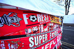 Half and half scarfs for the Nottingham Forest v Arsenal FA Cup third round tie - Mandatory by-line: Robbie Stephenson/JMP - 07/01/2018 - FOOTBALL - The City Ground - Nottingham, England - Nottingham Forest v Arsenal - Emirates FA Cup third round proper