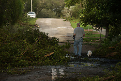 September 11, 2017 - Fort Lauderdale, Florida, U.S - A man goes out to walk his dog after the winds of Hurricane Irma wind down, in Fort Lauderdale. (Credit Image: © Orit Ben-Ezzer via ZUMA Wire)