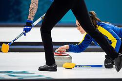 February 19, 2018 - Pyeongchang, SOUTH KOREA - 180219 Anna Hasselborg of Sweden in the Women's Curling Round Robin between Sweden and South Korea during day ten of the 2018 Winter Olympics on February 19, 2018 in Pyeongchang..Photo: Jon Olav Nesvold / BILDBYRN / kod JE / 160182 (Credit Image: © Jon Olav Nesvold/Bildbyran via ZUMA Press)