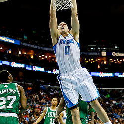 Mar 20, 2013; New Orleans, LA, USA; New Orleans Hornets power forward Lou Amundson (17) dunks against the Boston Celtics during the second quarter of a game at the New Orleans Arena. Mandatory Credit: Derick E. Hingle-USA TODAY Sports