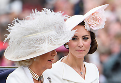 © Licensed to London News Pictures. 11/06/2016. London, UK. CAMILLA, DUCHESS OF CORNWALL and CATHERINE, DUCHESS OF CAMBRIDGE, in a horse drawn carriage during the Trooping The Colour ceremony in London. This years event is part of a weekend of celebration to mark the 90th birthday of Queen Elizabeth II, who is Britain's longest reigning monarch. Photo credit: Ben Cawthra/LNP