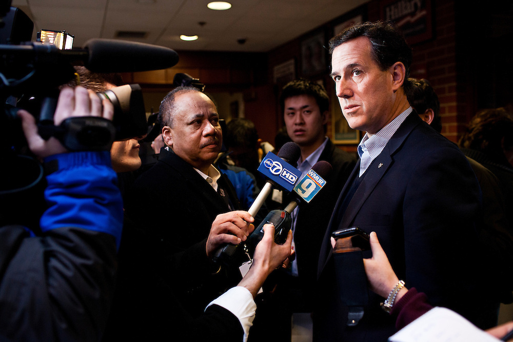 "Republican presidential candidate Rick Santorum talks to reporters before participating in ""The Electorate and the Economy"" forum at St. Anselm College on Saturday, January 7, 2012 in Manchester, NH. Brendan Hoffman for the New York Times"