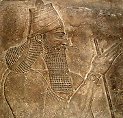 Tiglath-pileser III, Assyrian, about 728 BC.  From Nimrud, Central Palace.  The King's arms-bearer is displayed to the left.