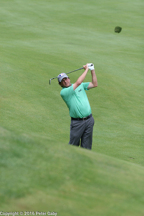Billy Andrade hitting his second shot on the 18th fairway at the 2016 American Family Championship held at University Ridge Golf Course, Madison,  WI. on June 24, 2016.<br /> <br /> <br /> <br /> <br /> <br />  2016 American Family Championship held at University Ridge Golf Course, Madison,  WI. on June 23, 2016.
