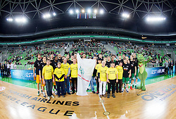 Special olympics and players prior to the basketball match between KK Union Olimpija and Khimki Moscow Region (RUS) in 9th Round of Regular season of Euroleague 2012/13 on December 7, 2012 in Arena Stozice, Ljubljana, Slovenia. (Photo By Vid Ponikvar / Sportida)