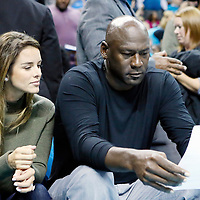 01 November 2015: Yvette Prieto and Michael Jordan are seen curtsied during the Atlanta Hawks 94-92 victory over the Charlotte Hornets, at the Time Warner Cable Arena, in Charlotte, North Carolina, USA.