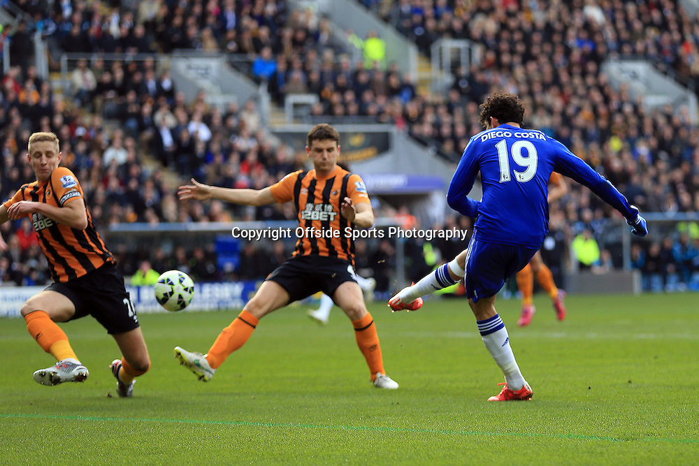22 March 2015 - Barclays Premier League - Hull City v Chelsea - Diego Costa of Chelsea scores the 2nd goal - Photo: Marc Atkins / Offside.