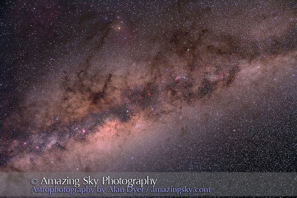 Norma-Centaurus area to Sagittarius, diagonal orientation. Taken with Hutech-modified Canon 5D camera, at ISO400 and 35mm f/1.4 Canon L lens stoped to f/4, for six minutes. Stack of three exposures. Taken from Queensland, Australia, June 2006.