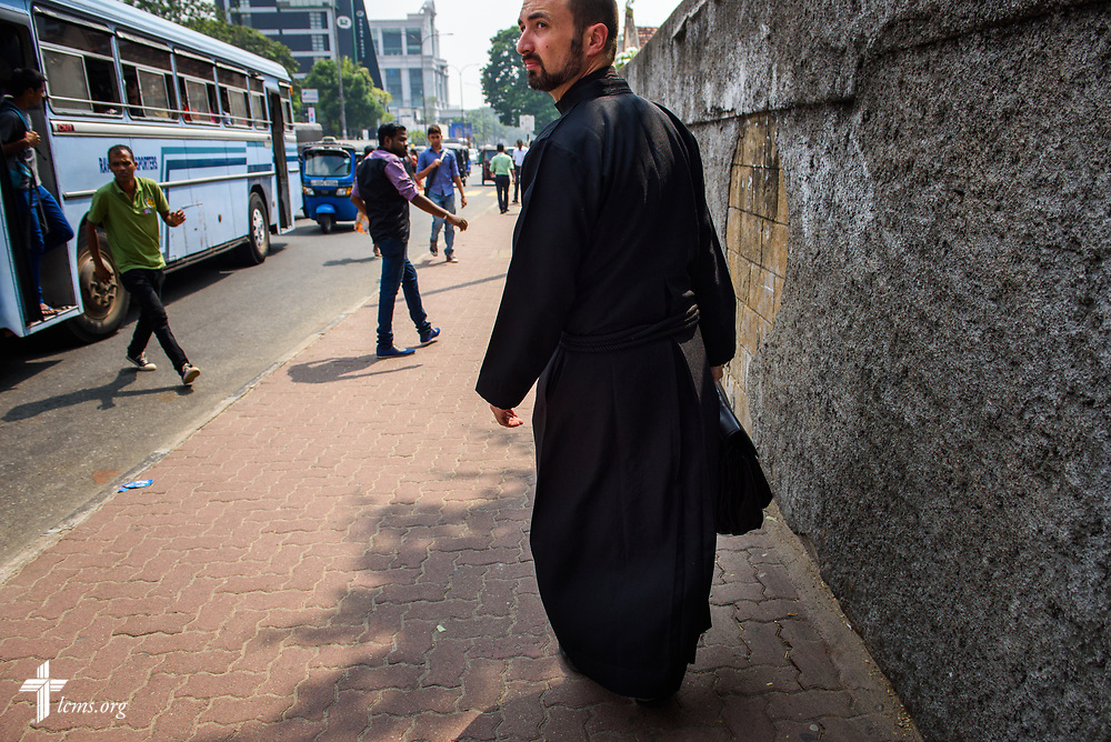The Rev. Dr. Edward Naumann, LCMS career missionary and theological educator to South Asia, walks Monday, Jan. 22, 2018, in Colombo, Sri Lanka. LCMS Communications/ Erik M. Lunsford