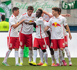 11.07.2015, Red Bull Arena, Salzburg, AUT, Audi Quattro Cup, Spiel um Platz 3, FC Red Bull Salzburg vs FC Southampton, im Bild Torjubel Red Bulls nach den 2:0 durch Dimitri Oberlin (FC Red Bull Salzburg), v.l.: Christoph Leitgeb (FC Red Bull Salzburg), Smail Prevljak (FC Red Bull Salzburg), Naby Keita (FC Red Bull Salzburg), Michael Brandner (FC Red Bull Salzburg) // during the Audi Quattro Cup 3rd Place Match between FC Red Bull Salzburg and Southampton FC at the Red Bull Arena, Salzburg on 2015/07/11. EXPA Pictures © 2015, PhotoCredit: EXPA/ JFK