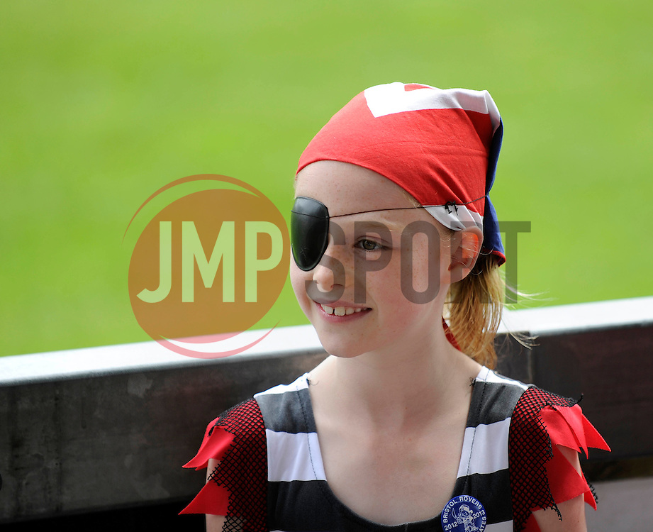 A young Bristol Rovers' fan dresses as a pirate - Photo mandatory by-line: Dougie Allward/JMP - Mobile: 07966 386802 27/07/2014 - SPORT - FOOTBALL - Bristol - Bristol Rovers - - Memorial Stadium - Fun Day