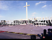 Pope John-Paul II visits Ireland..1979..29.09.1979..09.29.1979..29th September 1979..Today marked the historic arrival of Pope John-Paul II to Ireland. He is here on a three day visit to the country with a packed itinerary. He will celebrate mass today at a specially built altar in the Phoenix Park in Dublin. From Dublin he will travel to Drogheda by cavalcade. On the 30th he will host a youth rally in Galway and on the 1st Oct he will host a mass in Limerick prior to his departure from Shannon Airport to the U.S..A view of the altar showing the heirarchy in position at the sides.
