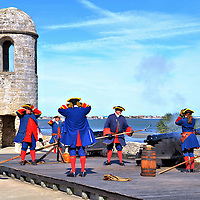 Soldiers Fire Canon at Castillo de San Marcos in St. Augustine, Florida<br />