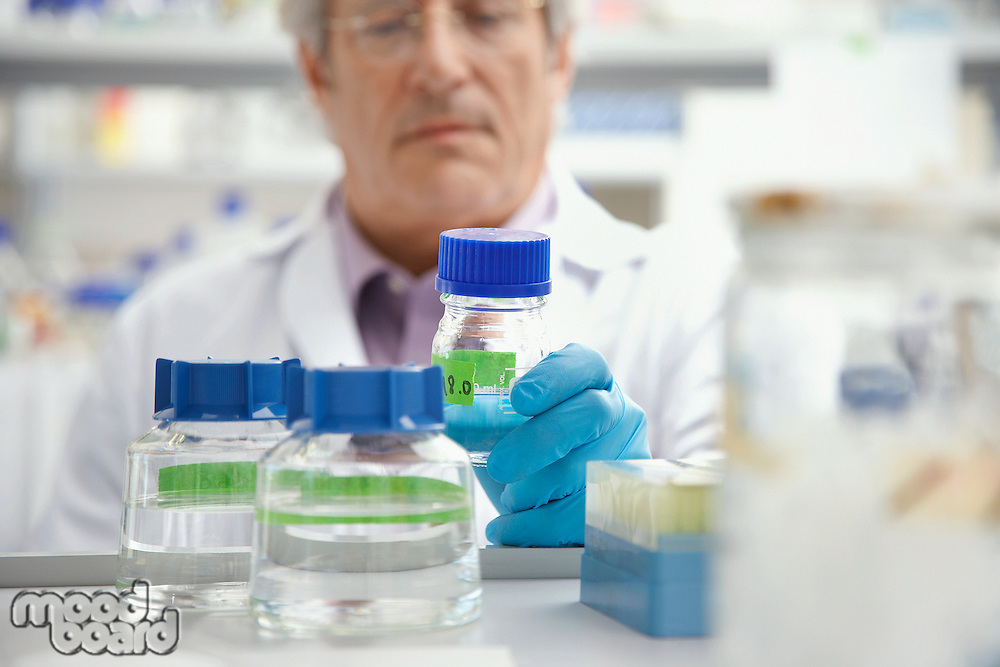 Scientist looking at specimen bottle in laboratory focus on bottle