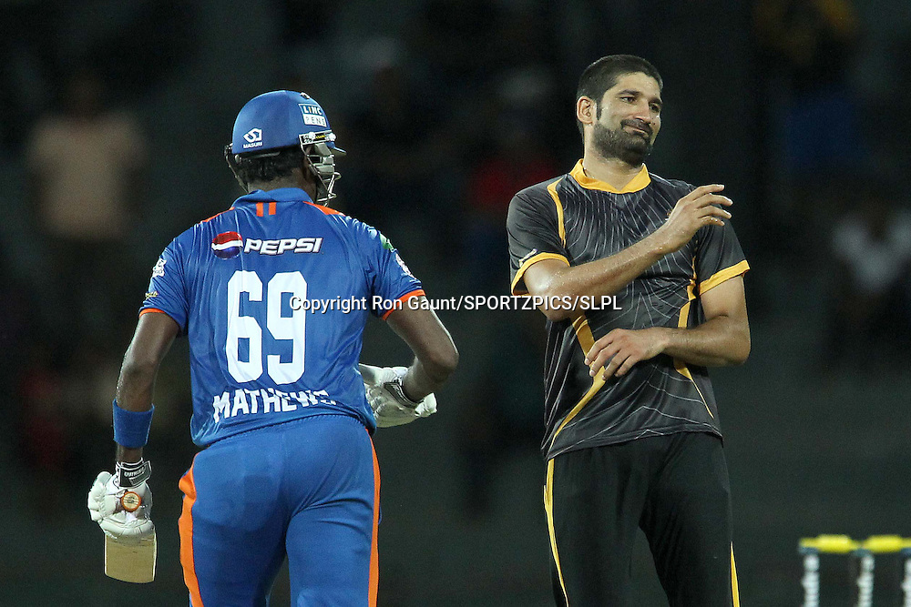 Sohail Tanvir reacts after bowling to Angelo Mathews during match 5 of the Sri Lankan Premier League between Kandurata Warriors and Nagenahira Nagas held at the Premadasa Stadium in Colombo, Sri Lanka on the 13th August 2012<br />  <br /> Photo by Ron Gaunt/SPORTZPICS/SLPL