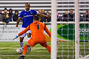 Oldham Athletic forward Chris O'Grady  (10) shoots and scores a goal (0-2) during the The FA Cup match between Maidstone United and Oldham Athletic at the Gallagher Stadium, Maidstone, United Kingdom on 1 December 2018. Photo by Martin Cole