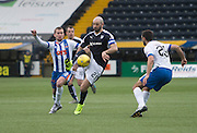 Dundee&rsquo;s Gary Harkins takes on Kilmarnock&rsquo;s Craig Slater and Gary Dicker - Kilmarnock v Dundee, Ladbrokes Premiership at Rugby Park<br /> <br />  - &copy; David Young - www.davidyoungphoto.co.uk - email: davidyoungphoto@gmail.com