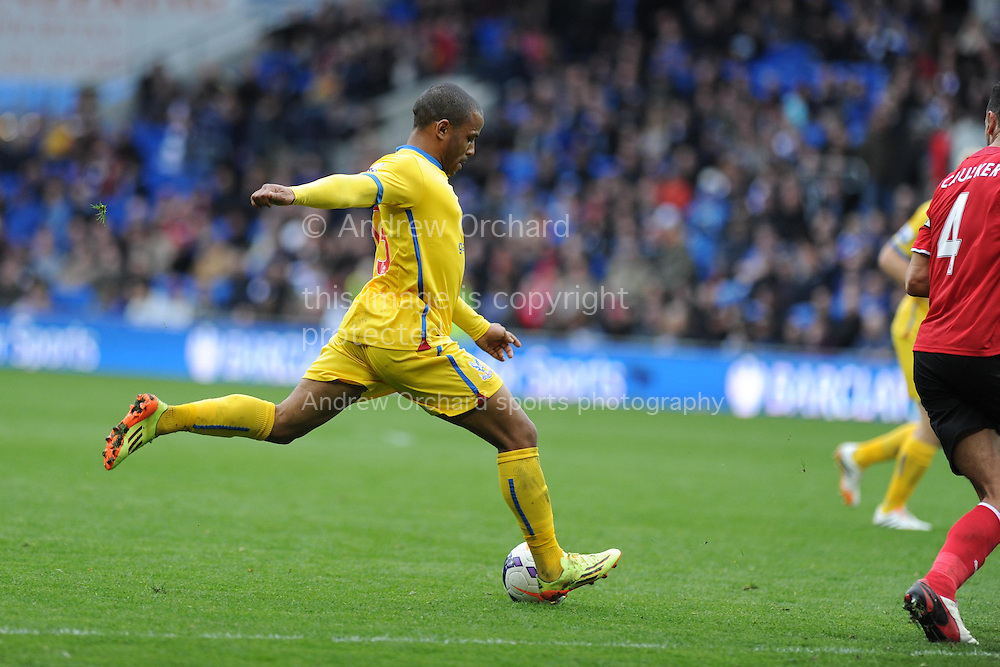 Jason Puncheon of Crystal Palace &copy; shoots and scores his sides 3rd goal. Barclays Premier league match, Cardiff city v Crystal Palace at the Cardiff city stadium in Cardiff, South Wales on Saturday 5th April 2014.<br /> pic by Andrew Orchard, Andrew Orchard sports photography.