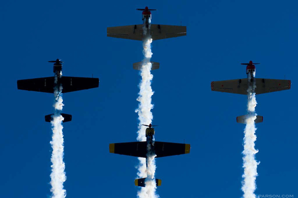 The Escradrille Fly-Over Formation Team flies in Diamond formation during a special ceremony for the late actor Jimmy Stewart at the Mt. Soledad Veterans Memorial in La Jolla, California on November 08, 2008.