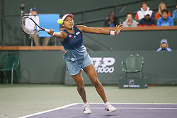 March 9, 2019 - Indian Wells, CA, U.S. - INDIAN WELLS, CA - MARCH 09: Naomi Osaka (JPN) reaches for a forehand during the BNP Paribas Open on March 9, 2019 at Indian Wells Tennis Garden in Indian Wells, CA. (Photo by George Walker/Icon Sportswire) (Credit Image: © George Walker/Icon SMI via ZUMA Press)