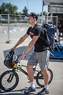 Men Elite #76 (BABRIS Helvijs) LAT arriving on race day at the 2018 UCI BMX World Championships in Baku, Azerbaijan.