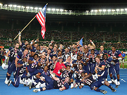 16.07.2011, Ernst Happel Stadion, Wien, AUT, American Football WM 2011, United States of America (USA) vs Canada (CAN), im Bild team USA celebrates the win of the world championship // during the American Football World Championship 2011 game, USA vs Canada, at Ernst Happel Stadion, Wien, 2011-07-16, EXPA Pictures © 2011, PhotoCredit: EXPA/ T. Haumer