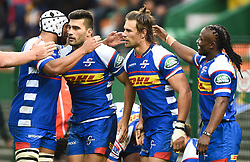 Cape Town-180427 Stomers celebrate Johannes engelbrecht's try against Rebels in the Super 15 rugby game at Newlands Stadium.photograph:Phando Jikelo/African news Agency