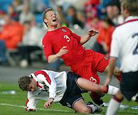 Fotball<br /> Privatlandskamp<br /> Norge v Wales 0-0<br /> Ullevaal Stadion<br /> 27.05.2004<br /> Foto: Morten Olsen, Digitalsport<br /> <br /> Ole Gunnar Solskjær - Manchester United<br /> Ben Thatcher - Leicester