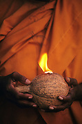 Sri Lanka. Buddhist nun holding a coconut and burning camphor at Kataragama. Coconuts are broken in front of the shrine when making a vow or when giving thanks to the God's. circa 1986