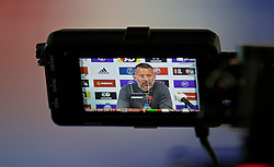 BRIDGEND, WALES - Tuesday, November 5, 2019: An image of Wales manager Ryan Giggs on a television camera monitor during a press conference at Nathaniel Cars in Bridgend to announce his squad for the final UEFA Euro 2020 Qualifying Group E qualifying matches against Azerbaijan and Hungary. (Pic by David Rawcliffe/Propaganda)