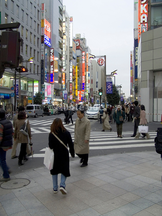 office workers and shoppers in central Tokyo