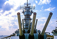 The big guns of US battleship, Iowa, photographed during her visit to the naval base at Norfolk, Virginia, USA. 19880505BS2..Copyright Image from Victor Patterson, 54 Dorchester Park, Belfast, UK, BT9 6RJ..Tel: +44 28 9066 1296.Mob: +44 7802 353836.Voicemail +44 20 8816 7153.Skype: victorpattersonbelfast.Email: victorpatterson@me.com.Email: victorpatterson@ireland.com (back-up)..IMPORTANT: If you wish to use this image or any other of my images please go to www.victorpatterson.com and click on the Terms & Conditions. Then contact me by email or phone with the reference number(s) of the image(s) concerned.