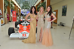 The Goldstone Singers, left to right AIMIE ATKINSON, LUCY HOPE BORNE and HELEN KURUP at the Grand Prix Ball in aid of The Prince's Trust held at The Hurlingham Club, Ranelagh Gardens, London on 6th July 2016.