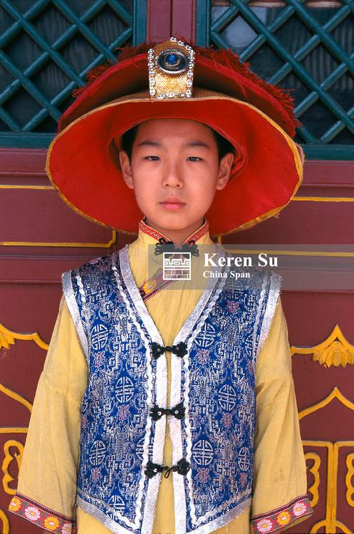 Boy dressed in Manchurian costume, Beijing, China