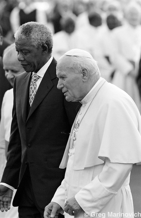 Nelson Mandela Mandela with Pope John Paul II on his pastoral visit in September 1995.