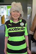Jilly Cooper during the Vanarama National League match between Forest Green Rovers and North Ferriby United at the New Lawn, Forest Green, United Kingdom on 1 April 2017. Photo by Alan Franklin.