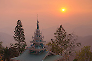 Sunset view, Pagoda on hill at Wat Phra That Doi Kong Mu, Mae Hong Son, Thailand