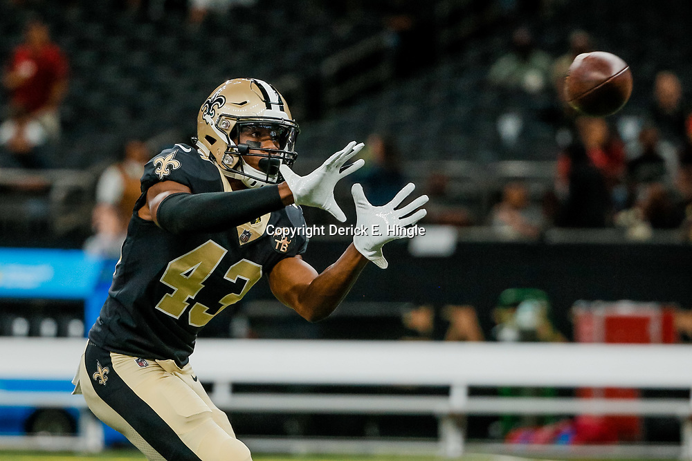 Aug 17, 2018; New Orleans, LA, USA; New Orleans Saints defensive back Marcus Williams (43) prior to a preseason game against the Arizona Cardinals at the Mercedes-Benz Superdome. Mandatory Credit: Derick E. Hingle-USA TODAY Sports