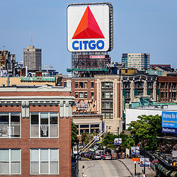 Boston Citgo sign photo and Kenmore Square from above. Boston, Massachusetts is a major city in the Eastern United States of America.