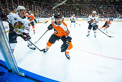 David Kampf of Chicago Blackhawks and Michael Raffl of Philadelphia Flyers  during NHL game between teams Chicago Blackhawks and Philadelphia Flyers at NHL Global Series in Prague, O2 arena on 4th of October 2019, Prague, Czech Republic. Photo by Grega Valancic / Sportida