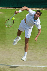02.07.2014, All England Lawn Tennis Club, London, ENG, ATP Tour, Wimbledon, im Bild Marin Cilic (CRO) during the Gentlemen's Singles Quarter-Final match on day nine // during the Wimbledon Championships at the All England Lawn Tennis Club in London, Great Britain on 2014/07/02. EXPA Pictures © 2014, PhotoCredit: EXPA/ Propagandaphoto/ David Rawcliffe<br /> <br /> *****ATTENTION - OUT of ENG, GBR*****