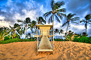 A closed lifeguard stand in Haleiwa, Hawaii.