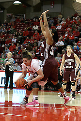03 March 2013:  Brianna Puni works around Christiana Shorty during an NCAA Missouri Valley Conference (MVC) women's basketball game between the Missouri State Bears and the Illinois Sate Redbirds at Redbird Arena in Normal IL
